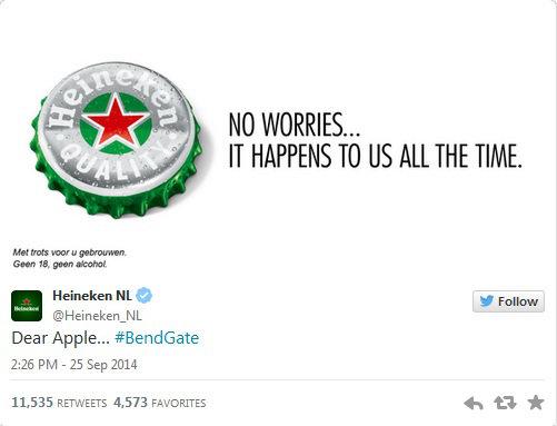 Heineken Bendgate trolling Twitter
