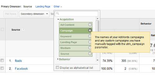 Google Analytics - filtrowanie po kampaniach